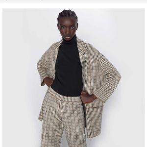 Zara Soft Sweater Coat Tan Brown Black Beige